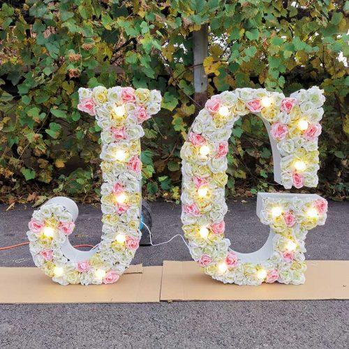 Big floral letter with light