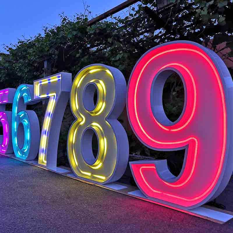 marquee numbers with lights
