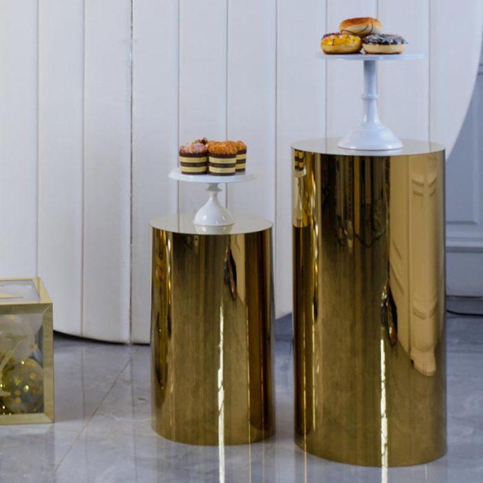gold cylinder pedestal